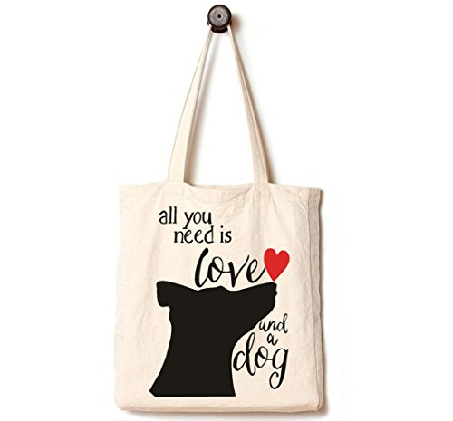 [Upgraded] Andes Heavy Duty Gusseted Canvas Tote Bag, Handmade from 12-ounce Machine Washable Cotton, Perfect for Shopping, Laptop, School Books, All You Need is Love and A Dog