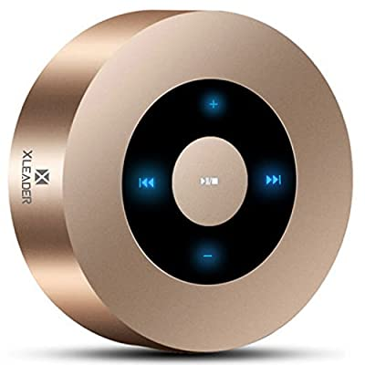 XLEADER SoundAngel (2 Gen) 5W Louder Bluetooth Speaker with Waterproof Case, 15h Music, Smart Touch Design, Perfect Small Portable Wireless Bluetooth Speaker for Phone Samsung iPad PC Echo Gift, Gold from XLEADER