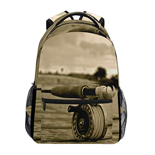 poiuytrew Fly Fishing Sport Backpack Students Shoulder Bags Travel Bag College School Backpacks