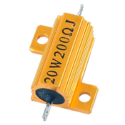 Aexit 20W 200ohm Fixed Resistors Wirewound Gold Tone Aluminum Single Resistors Housed Resistor
