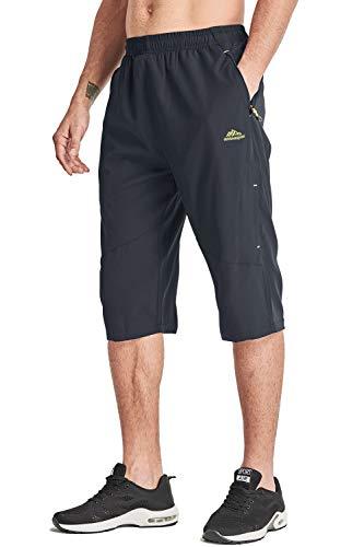 MAGCOMSEN Männer Capri Wandern Hose Quick Dry Bermuda Gummibund Shorts Herren Regular Fit Shorts Outdoor Knielange Hosen Jogginghose Kurze mit Stretchbund Grau, 36