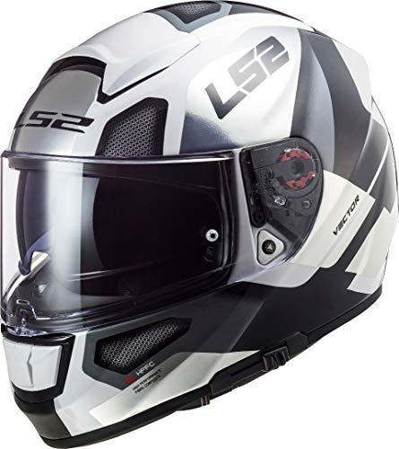 LS2 103973808M Casco Moto Full Face FF397 Vector FT2 Automat, Unisex, Bianco/Titanio, M