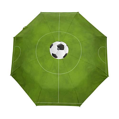 Paraguas de Viaje pequeño a Prueba de Viento al Aire Libre Lluvia Sol UV Auto Compacto 3 Pliegues Cubierta de Paraguas - Campo de fútbol Verde fútbol