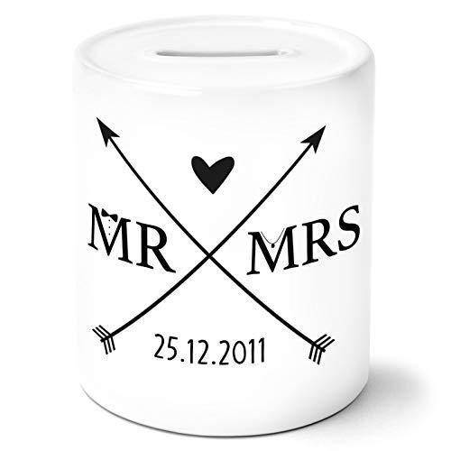 MR und MRS Wappen mit Datum personalisiert Spardose Geldgeschenke Geschenkideen für das Brautpaar zur HochzeitJahrestag