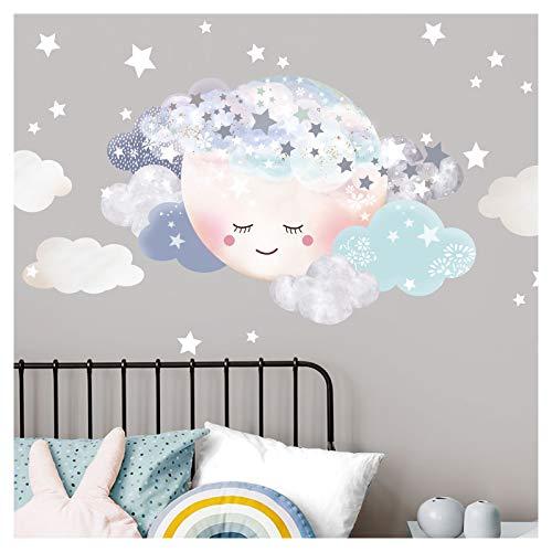 Little Deco Wandaufkleber Kinderzimmer Junge Mond & Wolken I Mond 1-75 x 50 cm I Wandtattoo Baby Wandsticker Deko Zimmer DL449-1