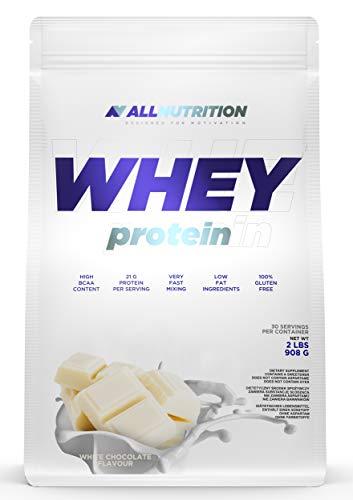 ALLNUTRITION Whey Protein 908g 1er pack Eiweißpulver Molkenproteinpulver Muskelaufbau mit Verzweigte Aminosäuren BCAA (White Chocolate)