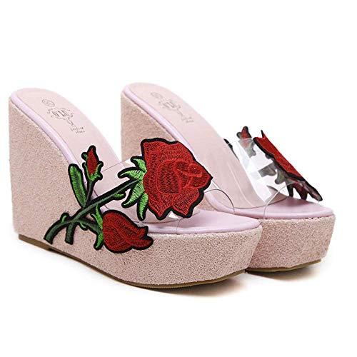 El deslizamiento antideslizante de los deslizadores de la ducha, cuñas de flores bordado con las sandalias de las mujeres transparentes de lentejuelas y zapatillas-pink_36, ergonómico flip-flops sanda