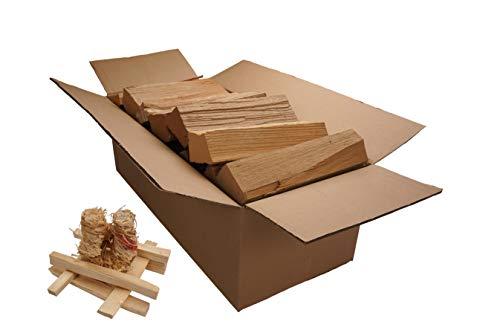 DURAFLAMM Brennholz 33cm Buche 30kg im Set mit Anzünder und Anzündholz verschiedene Längen ofenfertig trocken Feuerholz
