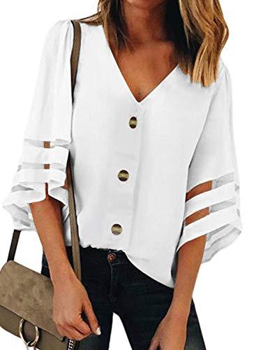 FIYOTE Damen Bluse Langarm Oberteile Top Lose Langarmshirt Chiffon Pullover blusen v Ausschnitt Einfarbig Elegante Tunika,  Farbe: 1-weiß, Size M