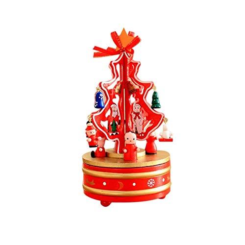 GZQDX Mode d'emploi Music Box Tree Music Box Bonhomme de Neige Mignon Rotation Musicbox Bois Boîte à Musique for Enfants Cadeau de Noël Bon Son (Color : Red)