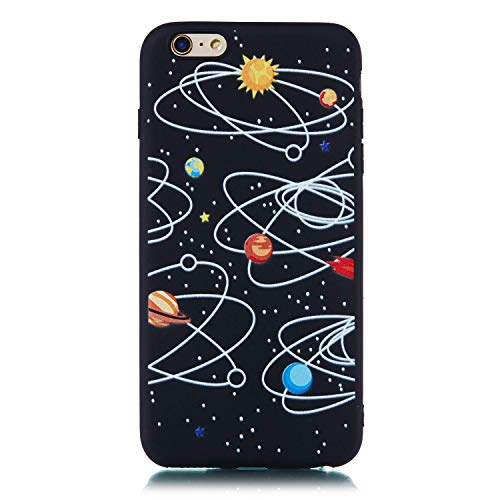 LAXIN Funda para iPhone 6, color negro, carcasa de TPU con acabado mate, protectores de teléfono para Apple iPhone 6S, color negro