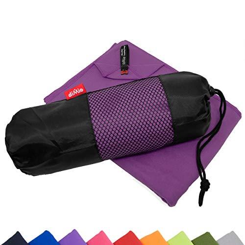 diMio Mikrofaser Reisehandtuch schnelltrocknend - Handtuch mit Tasche (80x180cm, Lila)