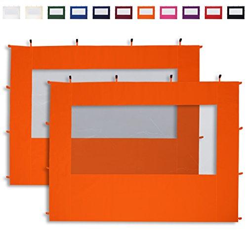 TOOLPORT 2 Seitenteile mit Panoramafenstern in orange für 3x3 m Falt Pavillon Faltpavillon Eco Aluminium von PROFIZELT24