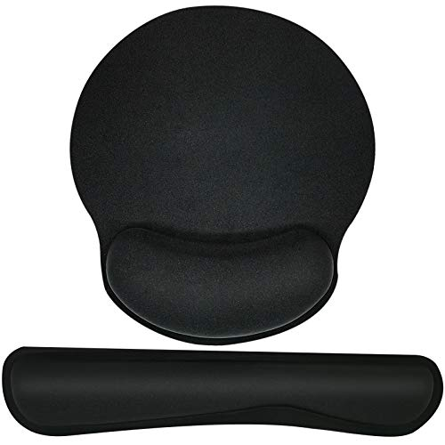 Keyboard Wrist Rest Mouse Pad Wrist Support Pads for Keyboard and Mouse, Ergonomic Memory Foam Wrist Pad for Pain Relief and Easy Typing, Arm Rest for Home & Office Laptop Computer, Black