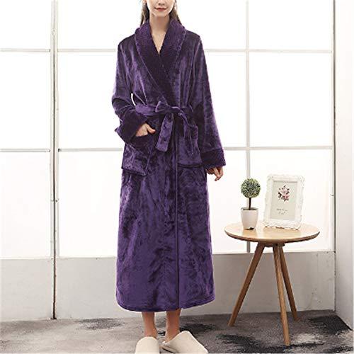Langarm Kimono Damen Pyjama Bademantel Sexy,Dicke Lange Männer und Frauen Winter Flanell Korallen Fleece Größe A-2 XXXL