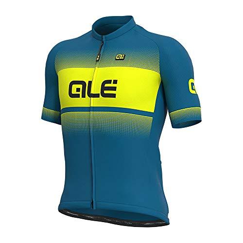 Alé Cycling Solid Blend Kurzarm Trikot Herren Azure Blue/Fluo Yellow Größe L 2021 Radtrikot kurzärmlig