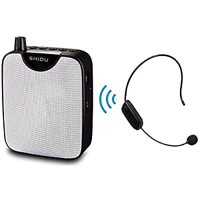 Portable Voice Amplifier PA system with UHF Wireless Headset Microphone, Loud Speaker Support Recording Funtion and U Disk/TF Perfect for Tour Guide, Teaching, Coaching,Presentations,Yoga, Fitness
