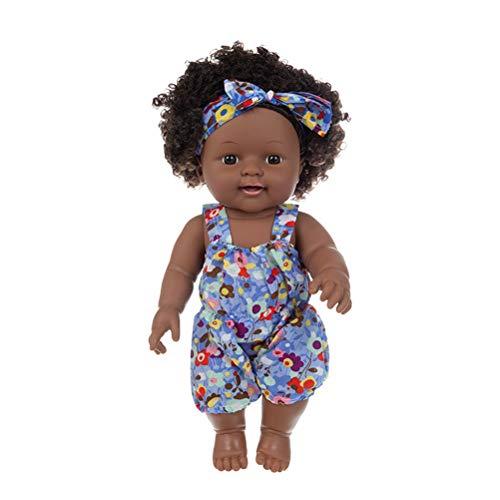 BASOYO Muñecas Negras para niños Muñecas Negras con Pelo Afro Muñeca de niña Negra Muñecas afroamericanas para Jugar a bebés Juguete de Moda Realista para niños