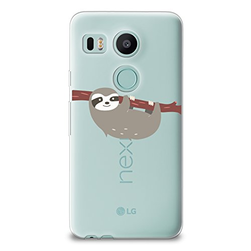 CasesByLorraine Nexus 5X Case, Cute Sloth Clear Transparent Case Flexible TPU Soft Gel Protective Cover for LG Google Nexus 5X (A66)