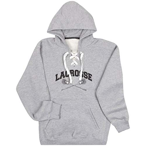 Guys Lacrosse Sport Lace Sweatshirt | Crossed Sticks | Adult Small Gray
