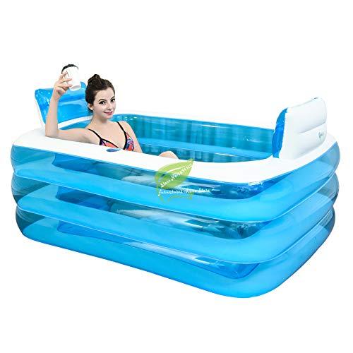 Summer Hot Portable Opblaasbare Badkuip Opvouwbaar PVC Verdikte Opblaasbare Badkuip Home Camping Travel bad voor Volwassene Kind 155 * 115 * 60cm