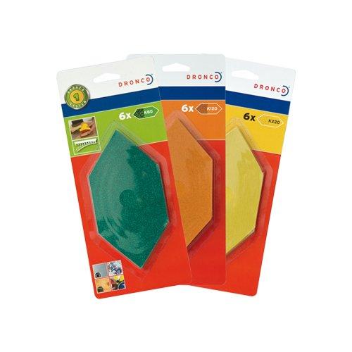 Dronco Nachfüllpack für Sechseck-Handschleifer, 6 Schleifstreifen (K120), 6780231000