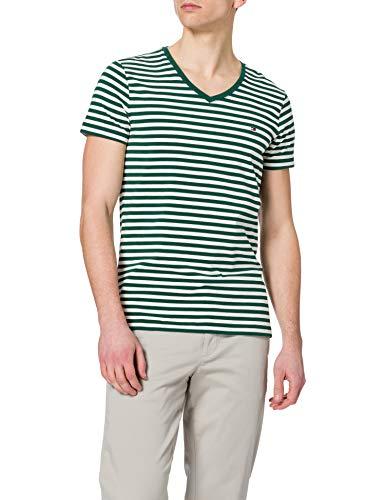 Tommy Hilfiger Herren Stretch Slim FIT Vneck Tee T-Shirt, Grün/Elfenbein, L