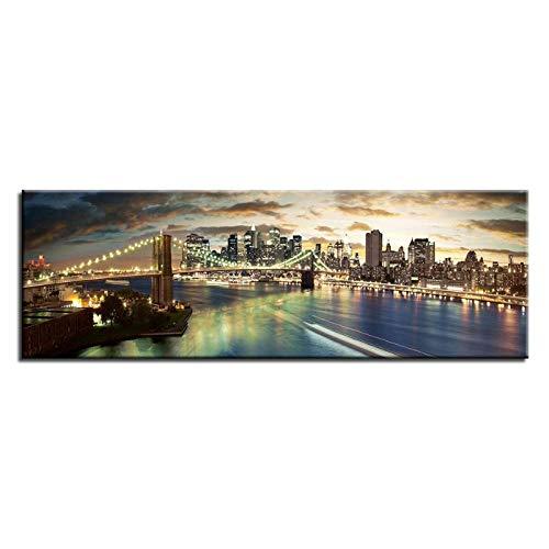 zhaoyangeng modulaire afbeeldingen New York Brooklyn Bridge merk canvas schilderij print klassieke muurkunst babykamer huis decor poster- 30X105cm zonder lijst