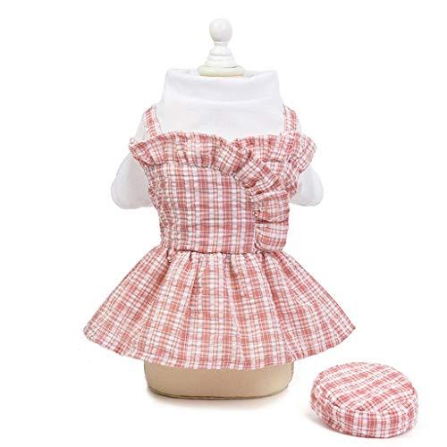 FEGOCLT XS-XL Vestido de Perro a Cuadros Vestido de Princesa de Verano para Perros con Sombrero Falda de Cachorro de Chihuahua Vestidos para Mascotas para niñas de Perros pequeños