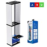 Game Card Box Storage Stand for PS5 PlayStation Nintendo Switch Xbox Games Card Double-Layer Storage Tower for Game Card Box Holder Vertical Stand 36 PCS Video Games Disc
