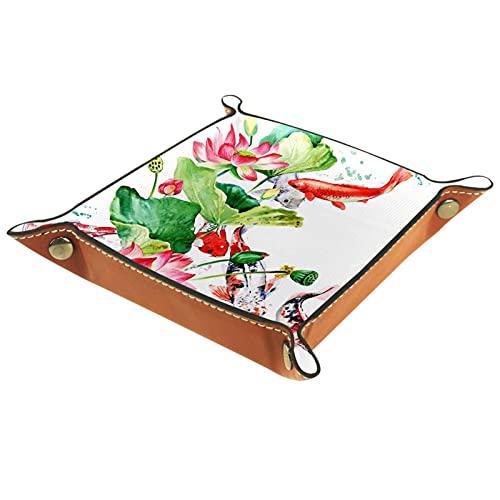 Bandeja de dados, plegable de cuero para dados, para juegos de dados, D&D y otros juegos de mesa, Fish Lotus