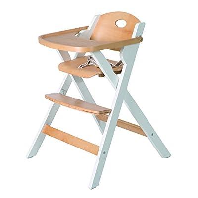 Trona plegable roba, ahorra espacio al plegarse, trona para bebé y silla infantil en madera natural y blanco