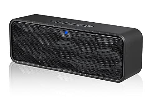 NETVIP Bluetooth speaker ポータブルワイヤレススピーカー ブルートゥース5.0 ステレオ対応 重低音 デュアルドライバー スマホスピーカー マイク内蔵 ハンズフリー通話 FMラジオ対応 AUX接続 microSDカード 大音量 小型コンパクト 敬老の日 贈り物(ブラック)