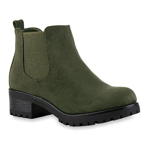 Stiefeletten Damen Chelsea Boots Profilsohle Blockabsatz Leder-Optik Booties Schuhe 121343 Dunkelgrün Bernice 39 Flandell