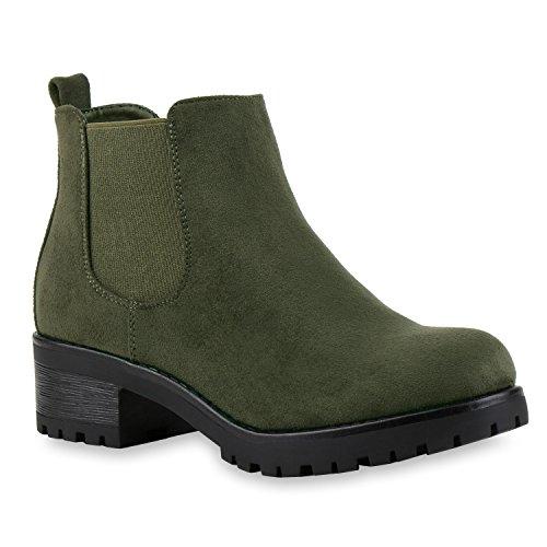 Stiefelparadies Stiefeletten Damen Chelsea Boots Profilsohle Blockabsatz Leder-Optik Booties Schuhe 121343 Dunkelgrün Bernice 38 Flandell