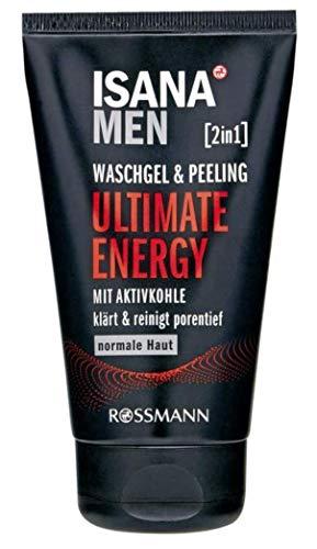 ISANA MEN 2in1 Waschgel & Peeling Ultimate Energy, für normale Haut, mit Aktivkohle, klärt & reinigt porentief, 150 ml
