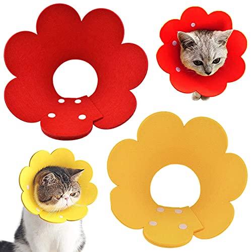 ZRWLZT Collar de Recuperación de Protección para Gatos Recuperación Mascota Cono Ajustable Collar de Recuperación para Mascota, Collar de Gato Suave Protector Después de La Cirugía 2 Piezas