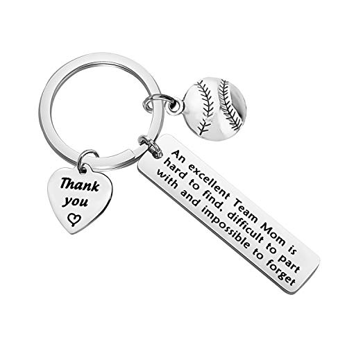 POTIY Team Mom Jewelry Team Gift Softball Keychain Softball Jewelry Gift Softball Player Gifts Thank You Gift for Coach Leader Mom (Softball Keychain)