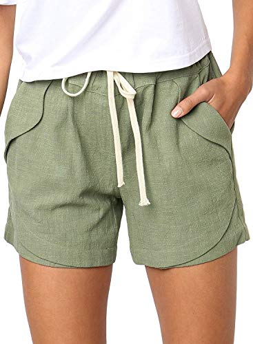 Dokotoo Womens Female Plus Size Linen Short Casual Drawstring Elastic Waist Loose Comfy Cotton Linen Shorts with Linen Pocket Shorts Pants Green 2XL