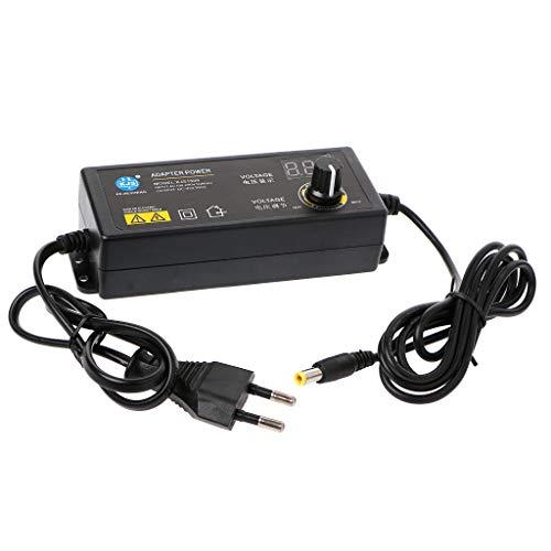 SHESSTILL 60W 3-24V Einstellbarer Adapter mit Spannungsanzeiger DC5.5x2.1/2.5mm Netzteil Internationale Netzteile US-Standard-Netzadapter EU-Stecker