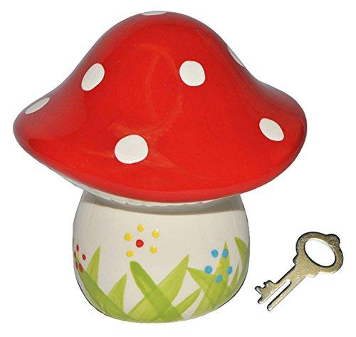 Sparschwein Pilz - Porzellan / Keramik mit Schlüssel - stabile Sparbüchse Spardose Kinder Figur groß Glückspilz