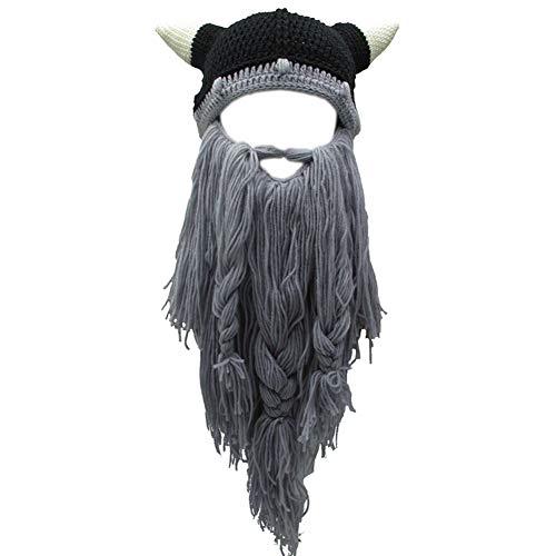 Yvnnelee Peluca Creativa de Halloween Vikingo Gran Barba Larga Sombrero de Lana Mascarilla Gorro para Hombres Mujeres Otoño e Invierno Cálido y Divertido Gorra de esquí