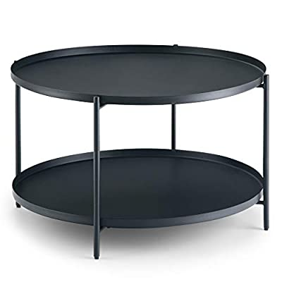Simpli Home AXCMNT-01 Monet 32 inch Wide Square Modern Industrial Metal Coffee Table in Black