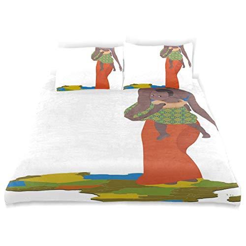 Soefipok Decoración Juego de Funda nórdica, Madre con bebé en la Espalda África País Cultura Continente Mapa Un Juego de Cama Decorativo de 3 Piezas con Fundas de Almohada