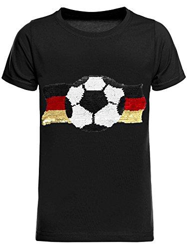 BEZLIT Deutschland Jungen Kinder Wende-Pailletten Fussball WM 2018 Fan T Shirt 22513 Schwarz Größe 104