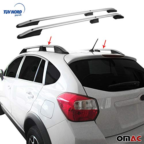 OMAC Aluminium Grau Dachreling Dachgepäckträger für XV 2012-2020 Relingträger Gepäckträger mit TÜV ABE Fahrzeugspezifisch