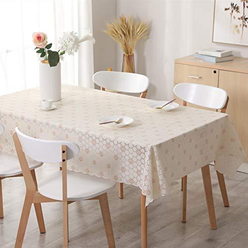 LIUJIU Mantel de lino resistente al agua, mantel de mesa redonda, mantel lavable para fiesta de cumpleaños, redondo, 135 x 260 cm
