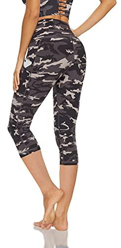 Lingswallow High Waist Yoga Pants - Capris Leggings with Pockets for Women Workout Sports Pattern Yoga Pants