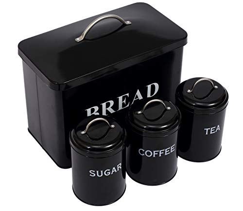 Xbopetda Bread Box & 3 Piece Kitchen Canister Set, Deluxe Food Storage Containers - Storage Container for Loaves Pastries Dry Food,Kitchen Countertop Space-Saving (Black)