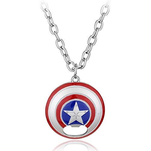 VAWAA Capitán América Escudo Metálico Botella Abridor Logotipo Colgante Collar para Los Hombres Accesorios De Moda Joyería